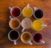 Nueve variedades de té verde Imagen de archivo libre de regalías