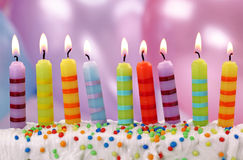 Nueve velas del cumpleaños imágenes de archivo libres de regalías