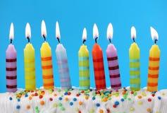 Nueve velas del cumpleaños Fotografía de archivo libre de regalías