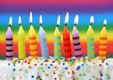 Nueve velas del cumpleaños Fotografía de archivo