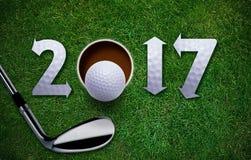 Nuevo año feliz del golf Fotos de archivo libres de regalías