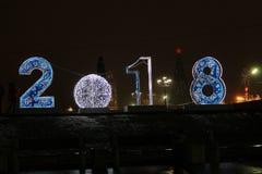 2018 Nuevo-años en Tula, cuadrado de Lenin Fotos de archivo libres de regalías