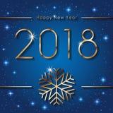 Nuevo 2018 años feliz Bandera de los saludos de las estaciones con el copo de nieve de oro Fondo colorido del invierno Ilustració Libre Illustration