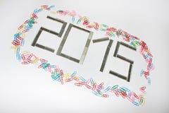 Nuevo 2015 años feliz con las grapas Fotografía de archivo