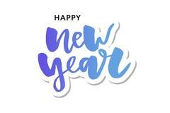 Nuevo 2018 años feliz Ejemplo del vector del día de fiesta con la composición de las letras y la etiqueta festiva del vintage de  stock de ilustración