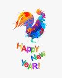 ¡NUEVO 2017 años feliz! Gallo de la pintura del chapoteo stock de ilustración