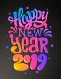 Nuevo 2019 años feliz Tarjeta de felicitaciones Diseño de letras colorido Ilustración del vector ilustración del vector