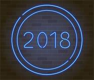 Nuevo 2018 años feliz Vector el ejemplo del día de fiesta de la muestra del neón que brilla intensamente 2018 Foto de archivo