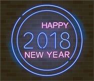 Nuevo 2018 años feliz Vector el ejemplo del día de fiesta de la muestra del neón que brilla intensamente 2018 stock de ilustración