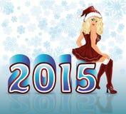Nuevo 2015 años feliz y muchacha atractiva de Papá Noel Imagenes de archivo