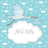 Nuevo bebé, vuelo de la cigüeña con el bebé Imagen de archivo