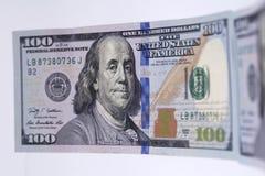 Nuevo billete de banco cientos dólares Fotografía de archivo libre de regalías