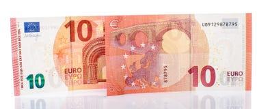 Nuevo billete de banco del euro diez imagen de archivo libre de regalías