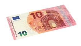 Nuevo billete de banco del euro diez, aislado en blanco Fotos de archivo libres de regalías
