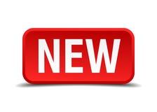 Nuevo botón del cuadrado del rojo 3d Foto de archivo libre de regalías