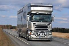 Nuevo camión de Scania Horsebox en el camino Fotografía de archivo