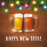 Nuevo cartel feliz de las tazas de cerveza Foto de archivo