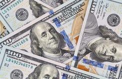 Nuevo cientos dólares de billetes de banco Fotografía de archivo libre de regalías