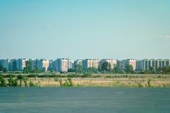 Nuevo complejo residencial con los edificios altos Foto de archivo