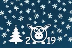 Nuevo concepto de 2019 años con el cerdo y los copos de nieve libre illustration
