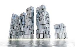 Nuevo concepto de diseño futurista de la ciudad de la isla del asunto Fotos de archivo libres de regalías