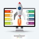 Nuevo concepto del inicio del proyecto del negocio Lanzamiento del cohete de espacio del monitor de computadora stock de ilustración