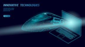nuevo concepto inalámbrico del wifi de Internet del tren de alta velocidad 5G Tren ferroviario más alto rápido global Poligonal a ilustración del vector