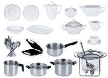Nuevo conjunto de la cocina aislado Foto de archivo libre de regalías