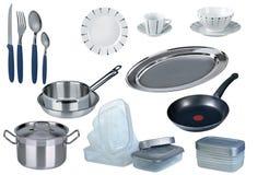 Nuevo conjunto de la cocina aislado Imagenes de archivo