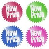 Nuevo conjunto de la etiqueta engomada del precio stock de ilustración