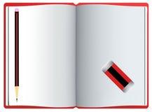 Nuevo cuaderno con las páginas, el lápiz y el borrador limpios Imagenes de archivo