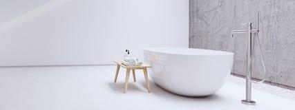 Nuevo cuarto de baño moderno del zen con la pared blanca representación 3d Imagen de archivo libre de regalías