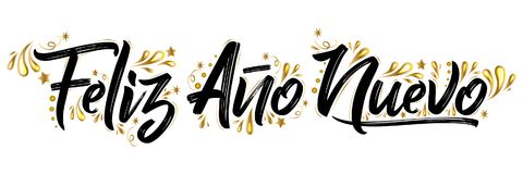 Nuevo d'ano de Feliz, lettrage espagnol de vacances des textes de bonne année illustration de vecteur