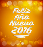 Nuevo 2016 de Feliz Ano - les Espagnols de la bonne année 2016 textotent Images libres de droits