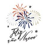 Nuevo del ano de Feliz, tarjeta de felicitación española de la Feliz Año Nuevo Imagen de archivo
