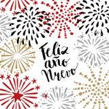 Nuevo del ano de Feliz, tarjeta de felicitación española de la Feliz Año Nuevo con el texto manuscrito y fuegos artificiales dibu Foto de archivo libre de regalías