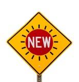 NUEVO diamante del amarillo de la señal de tráfico de la palabra Imágenes de archivo libres de regalías