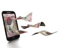 nuevo dinero rendido 3D del dinar kuwaití inclinado y aislado en el fondo blanco ilustración del vector