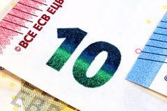 Nuevo diseño de diez billetes de banco euro Fotos de archivo libres de regalías