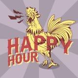 Nuevo diseño del cartel del vintage de la hora feliz con el gallo de cacareo Drawin stock de ilustración