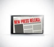 nuevo diseño del ejemplo de las noticias de la tableta del comunicado de prensa Foto de archivo