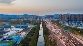 Nuevo distrito de Jiangbei, Nanjing, Jiangsu, China fotografía de archivo libre de regalías