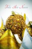 Nuevo do ano de Feliz, ano novo feliz no espanhol Imagem de Stock Royalty Free