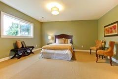 Nuevo dormitorio verde grande equipado bien. foto de archivo