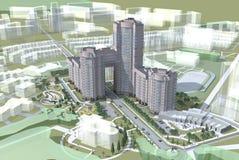 Nuevo edificio residencial del proyecto. Fotos de archivo