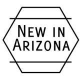 Nuevo en el sello de Arizona en el fondo blanco stock de ilustración