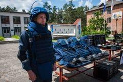 Nuevo equipo para los bomberos ucranianos Fotos de archivo libres de regalías