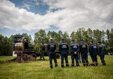 Nuevo equipo para los bomberos ucranianos Fotografía de archivo libre de regalías
