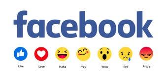 Nuevo Facebook le gusta el botón 6 Emoji comprensivo fotos de archivo