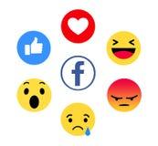 Nuevo Facebook le gusta el botón 6 Emoji comprensivo fotos de archivo libres de regalías